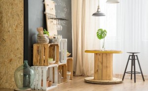 DIY furniture from wooden boxes in trendy eco cafe