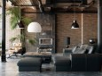 Living room loft in industrial style ,3d render